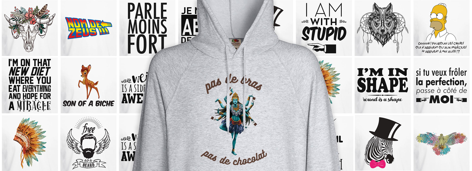 Sweat shirt mixte imprimés