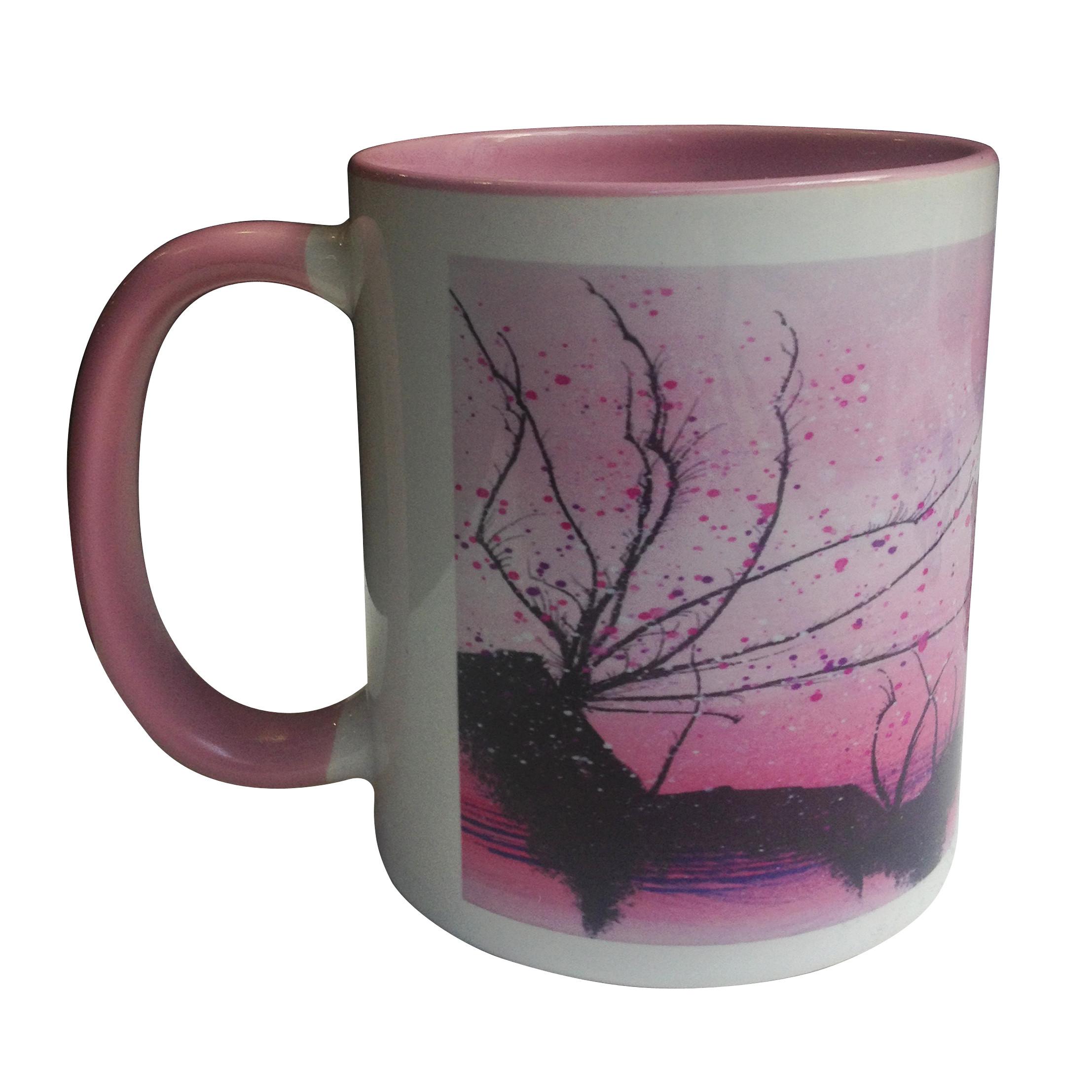 Mug en céramique à bordure colorée